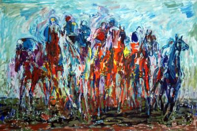 """Fred Walther: """"Endspurt"""" Öl auf Leinwand, 1985"""