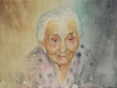 Lieselotte Finke-Poser »Aus dem Pflegeheim – Frau Franz«, 2002, Aquarell