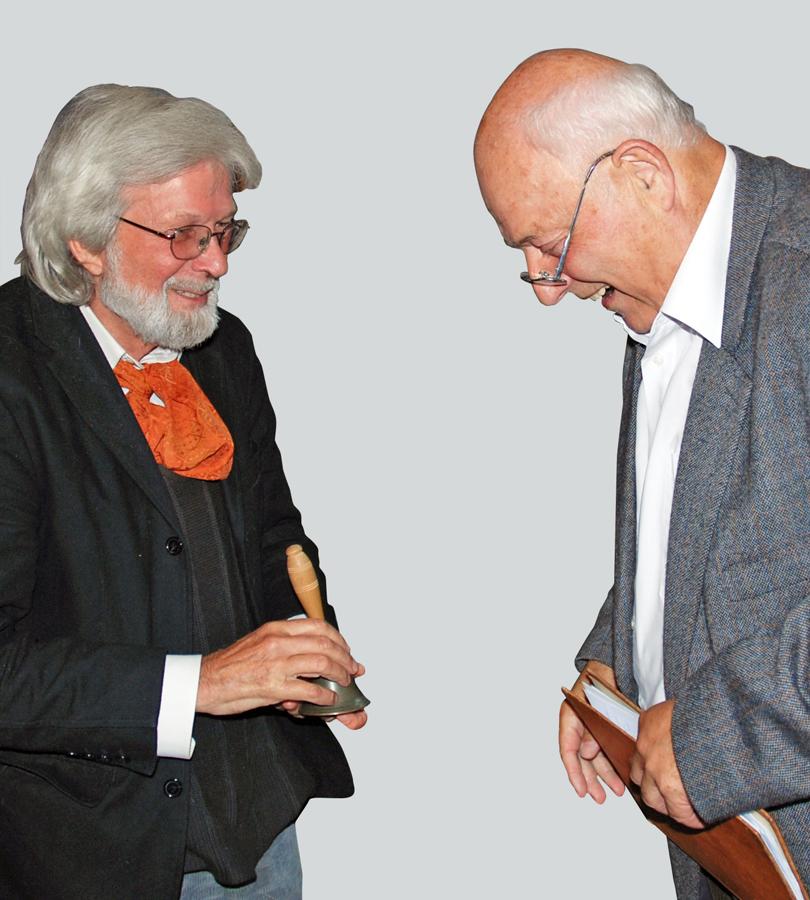 Gottfried Reinhardt und Helmut Heinze im Gespräch zur Buchpräsentation 2008 in der Stadtgalerie