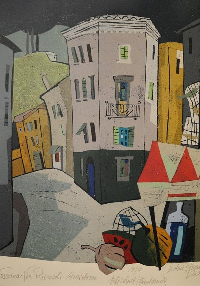 »Via Ricasoli-Arcidosso« (Farbholzschnitt Michael Hofmann/2011)