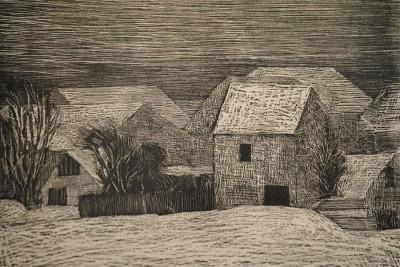 »Dorf im Schnee« (Holzriss von Werner Wittig/1970)