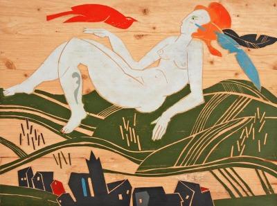 Michael Hofmann »Radebeul, die Schöne-gestern, heute, morgen«, 2014, Holzstock
