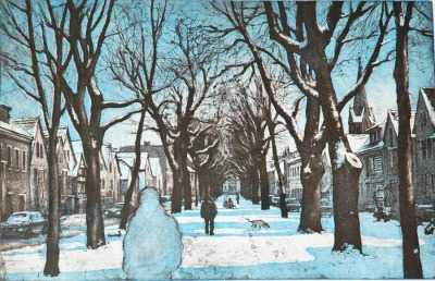 Markus Retzlaff »Altkötzschenbroda im Winter«, 2014, Farbradierung