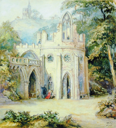 Ruine in Hantzschs Weinberg in der Lößnitz, 1852, Bild:  M. Schleinitz