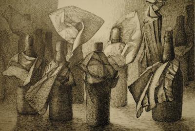 »Flaschen«, aus dem Zyklus »Begegnungen«, Tusche, 2001 Foto: W. Zimmermann