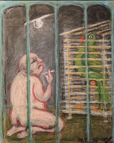 Peter Graf »Besitz (jedem seinen Käfig)«, 2016, Pastell